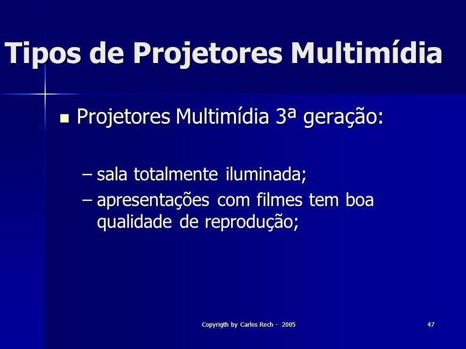 Copyrigth by Carlos Rech - 200547 Tipos de Projetores Multimídia Projetores Multimídia 3ª geração: Projetores Multimídia 3ª geração: –sala totalmente
