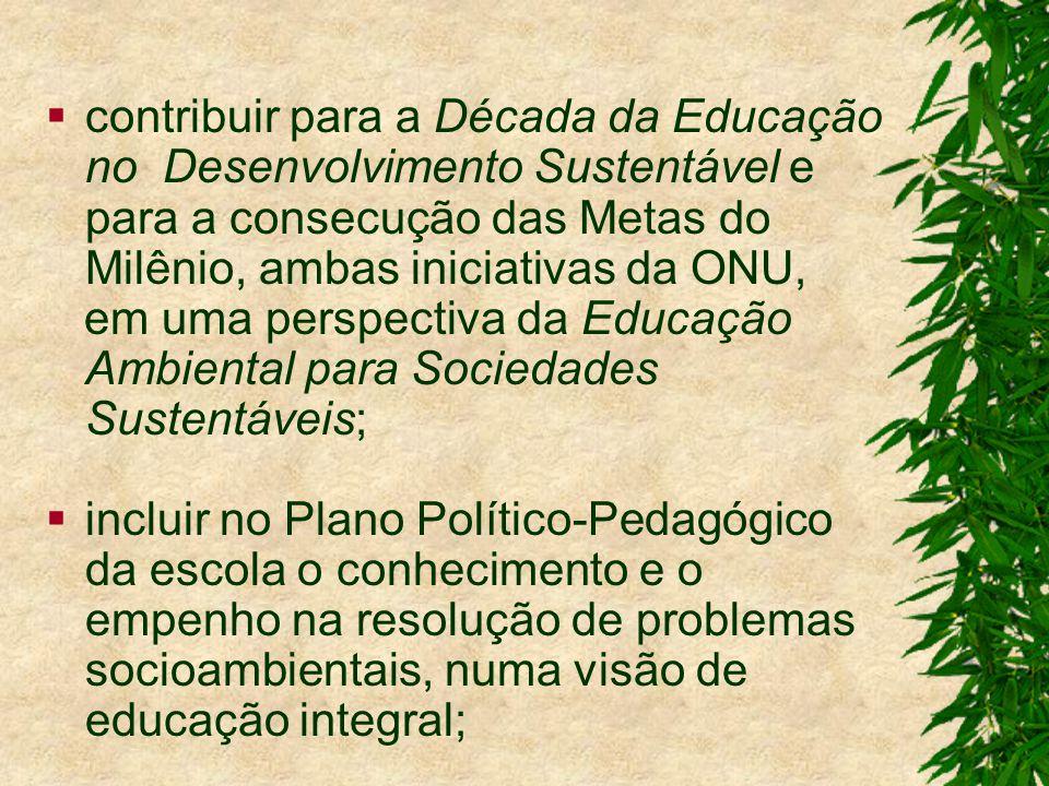 contribuir para a Década da Educação no Desenvolvimento Sustentável e para a consecução das Metas do Milênio, ambas iniciativas da ONU, em uma perspectiva da Educação Ambiental para Sociedades Sustentáveis; incluir no Plano Político-Pedagógico da escola o conhecimento e o empenho na resolução de problemas socioambientais, numa visão de educação integral;
