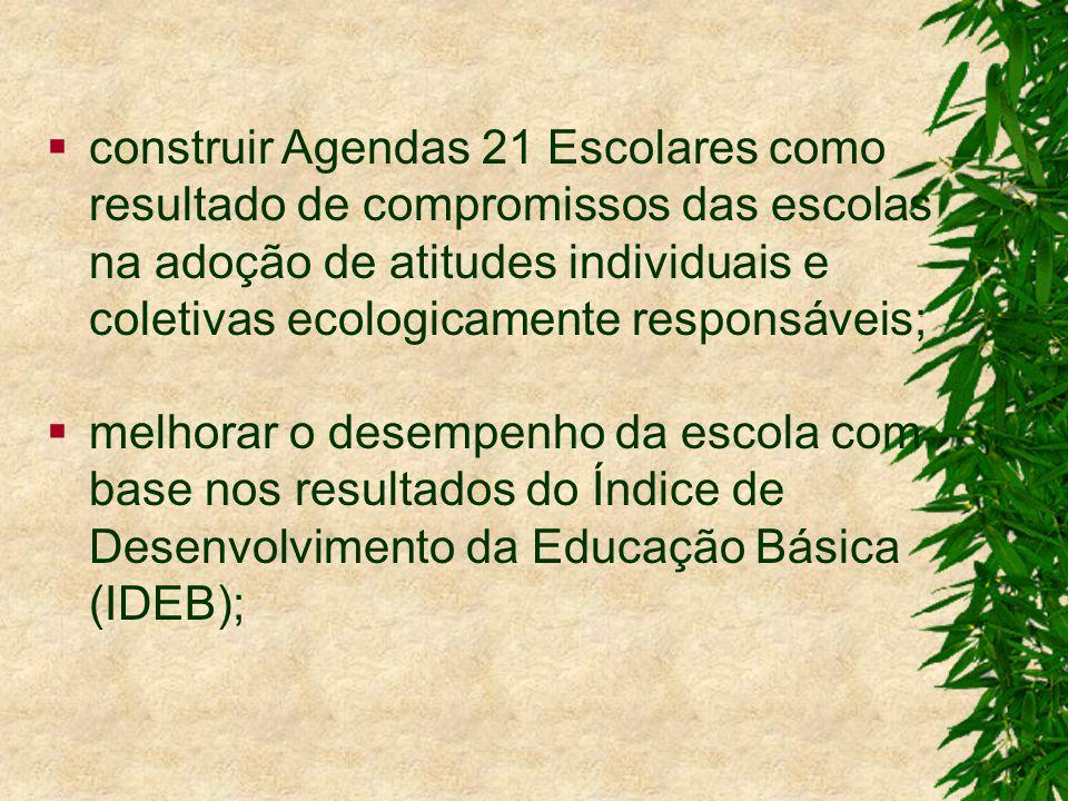 construir Agendas 21 Escolares como resultado de compromissos das escolas na adoção de atitudes individuais e coletivas ecologicamente responsáveis; melhorar o desempenho da escola com base nos resultados do Índice de Desenvolvimento da Educação Básica (IDEB);
