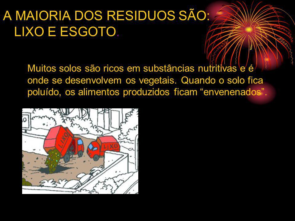 A MAIORIA DOS RESIDUOS SÃO: LIXO E ESGOTO. Muitos solos são ricos em substâncias nutritivas e é onde se desenvolvem os vegetais. Quando o solo fica po