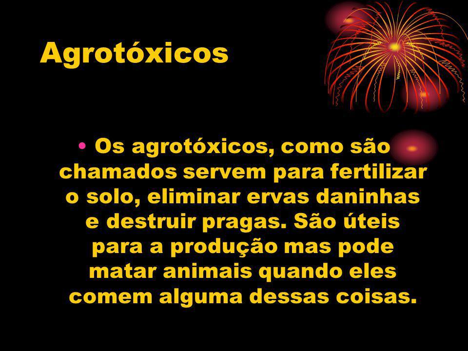 Agrotóxicos Os agrotóxicos, como são chamados servem para fertilizar o solo, eliminar ervas daninhas e destruir pragas. São úteis para a produção mas