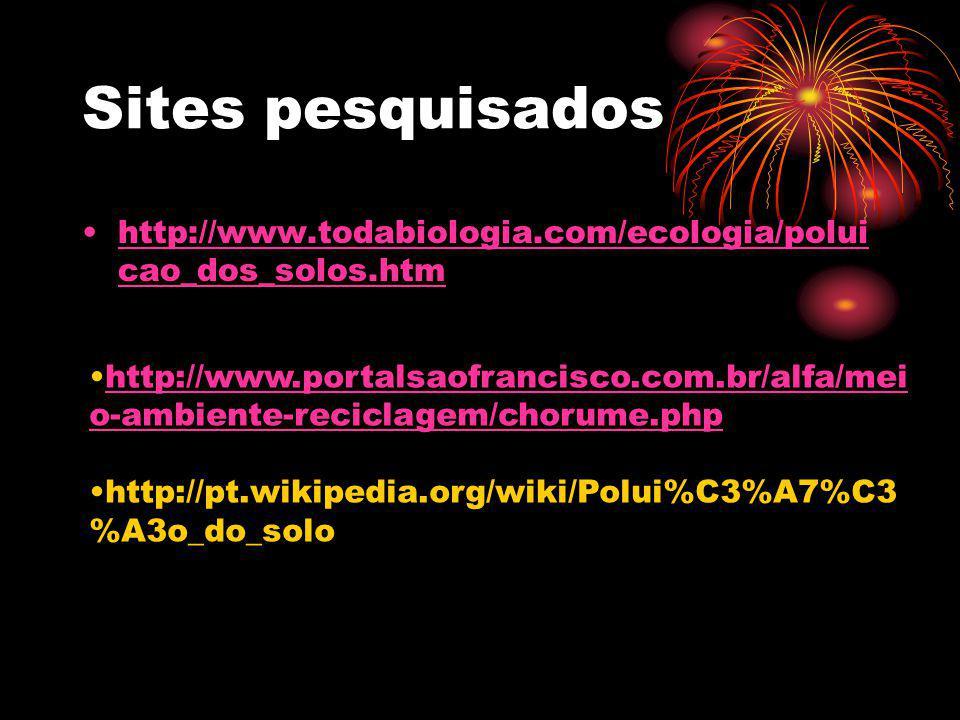 Sites pesquisados http://www.todabiologia.com/ecologia/polui cao_dos_solos.htmhttp://www.todabiologia.com/ecologia/polui cao_dos_solos.htm http://www.