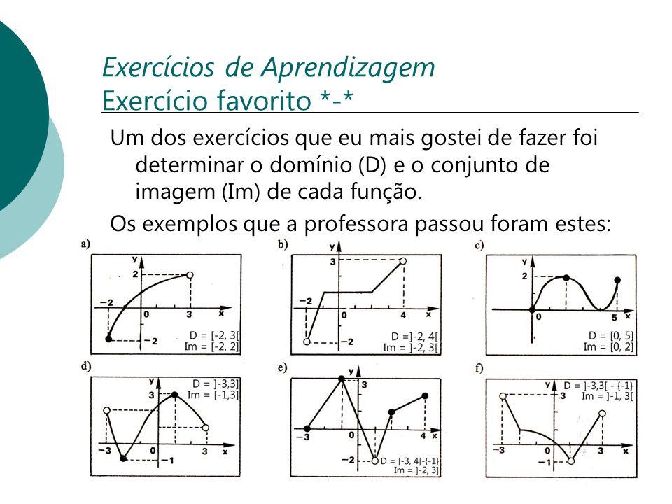 Exercícios de Aprendizagem Exercício favorito *-* Um dos exercícios que eu mais gostei de fazer foi determinar o domínio (D) e o conjunto de imagem (I