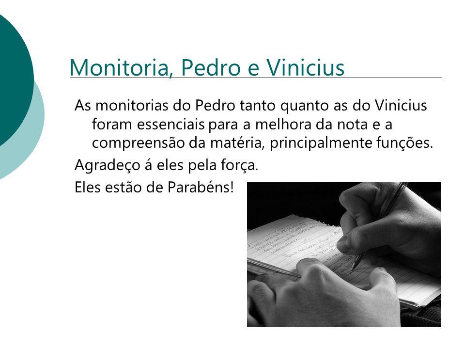 Monitoria, Pedro e Vinicius As monitorias do Pedro tanto quanto as do Vinicius foram essenciais para a melhora da nota e a compreensão da matéria, pri
