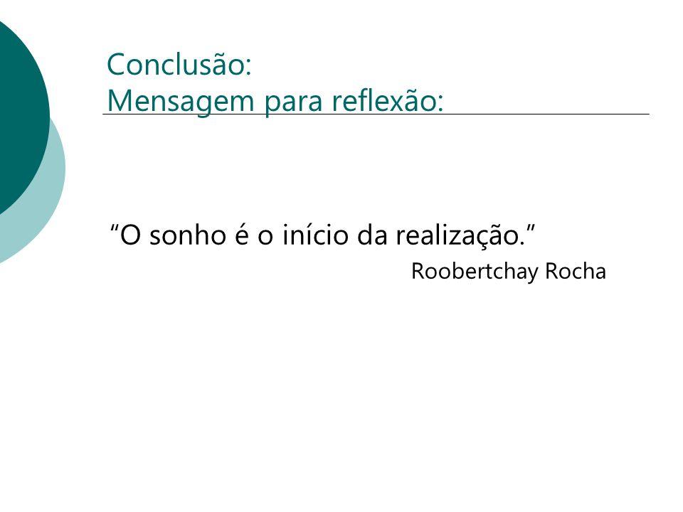 Conclusão: Mensagem para reflexão: O sonho é o início da realização. Roobertchay Rocha