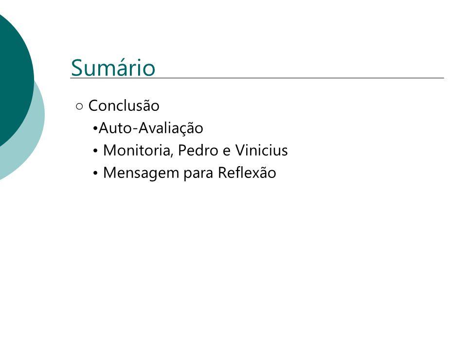 Sumário Conclusão Auto-Avaliação Monitoria, Pedro e Vinicius Mensagem para Reflexão
