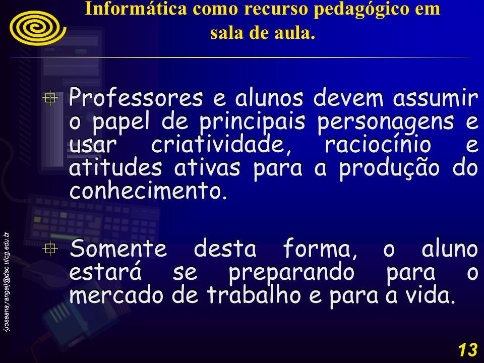 {Joseana,rangel}@dsc.ufcg.edu.br 13 Professores e alunos devem assumir o papel de principais personagens e usar criatividade, raciocínio e atitudes ativas para a produção do conhecimento.