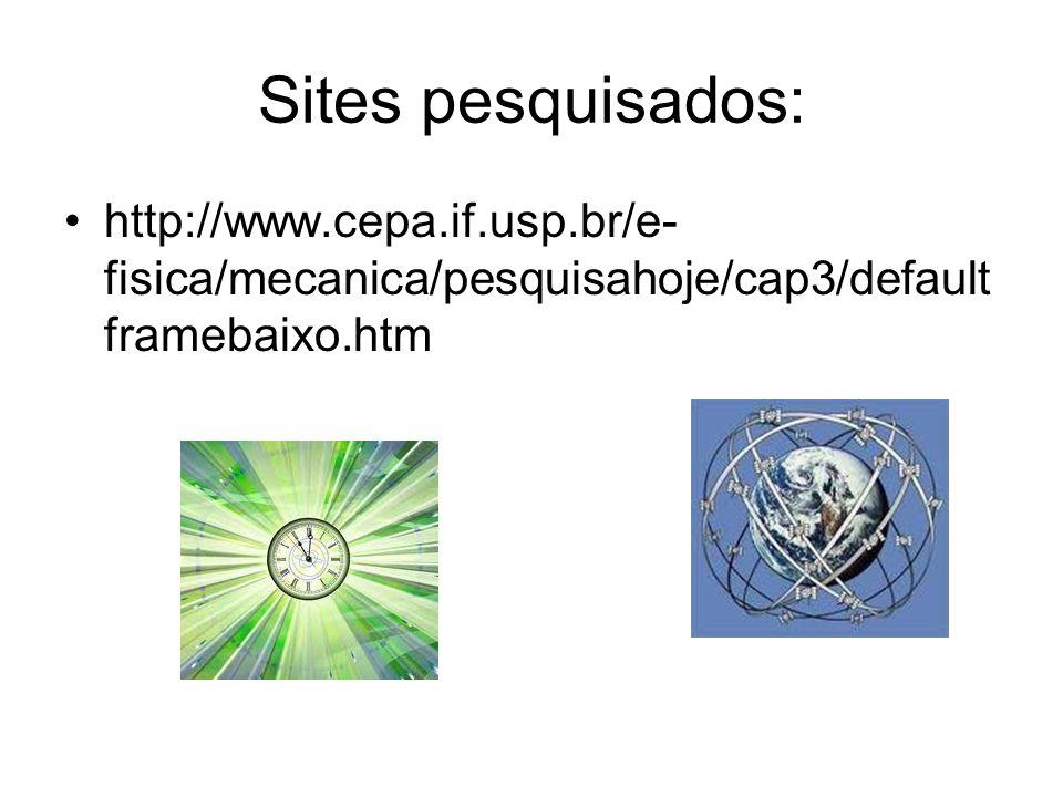Sites pesquisados: http://www.cepa.if.usp.br/e- fisica/mecanica/pesquisahoje/cap3/default framebaixo.htm