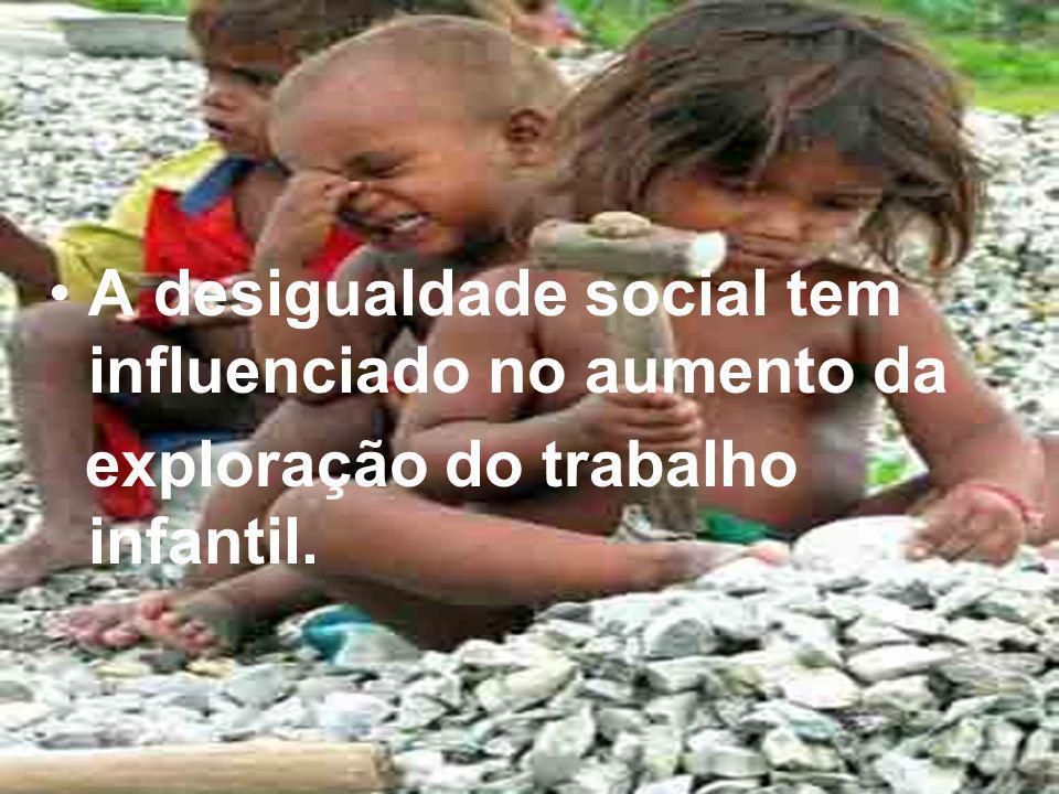 A desigualdade social tem influenciado no aumento da exploração do trabalho infantil.
