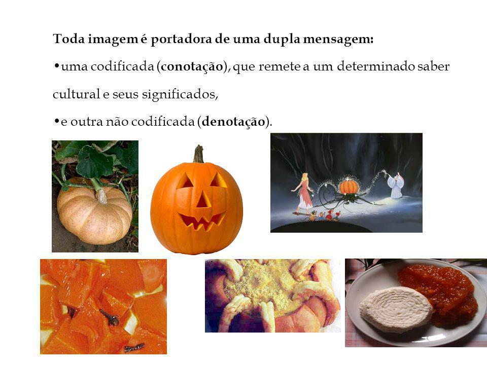 Toda imagem é portadora de uma dupla mensagem: uma codificada ( conotação ), que remete a um determinado saber cultural e seus significados, e outra não codificada ( denotação ).