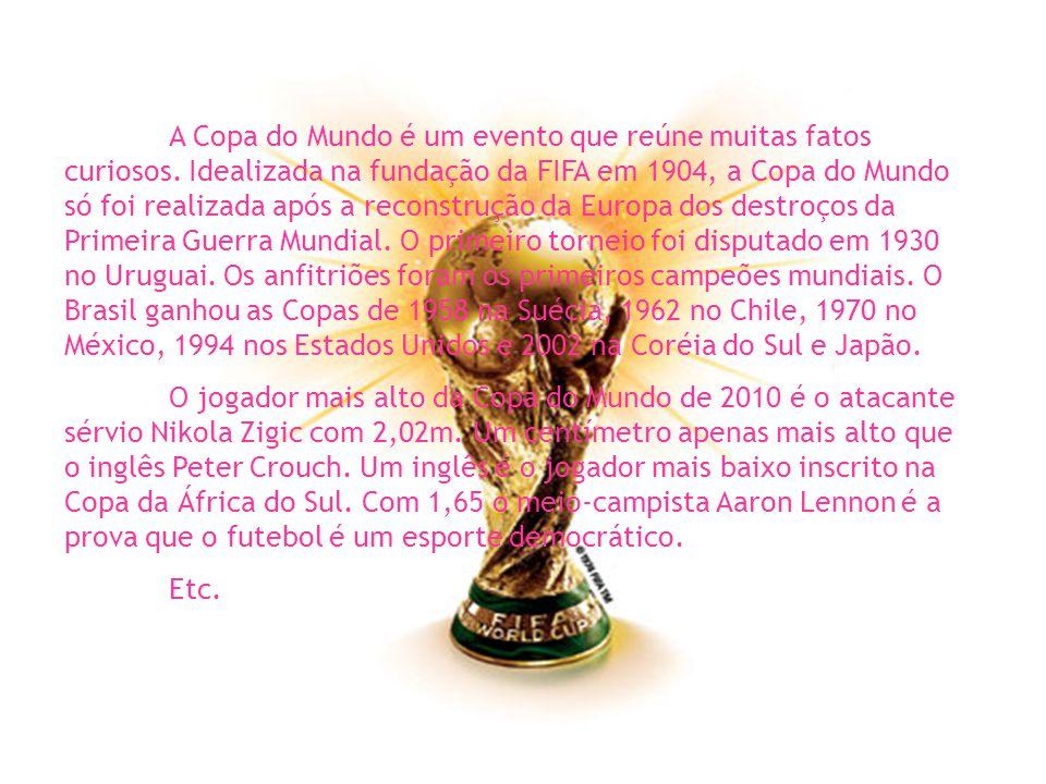A Copa do Mundo é um evento que reúne muitas fatos curiosos.