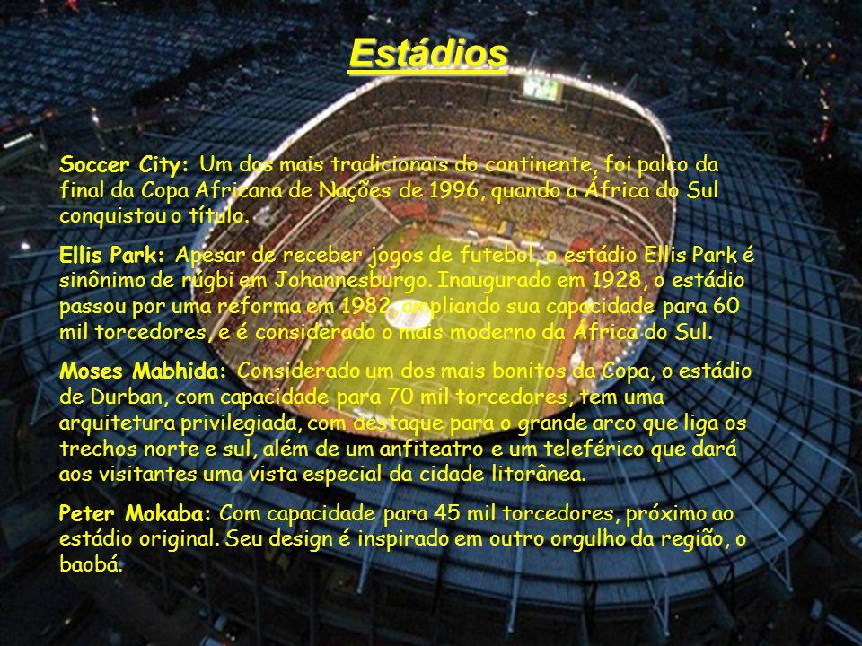 Estádios Soccer City: Um dos mais tradicionais do continente, foi palco da final da Copa Africana de Nações de 1996, quando a África do Sul conquistou o título.