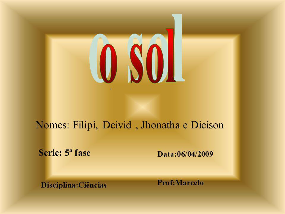 Nomes: Filipi, Deivid, Jhonatha e Dieison Serie: 5ª fase Data:06/04/2009 Disciplina:Ciências.