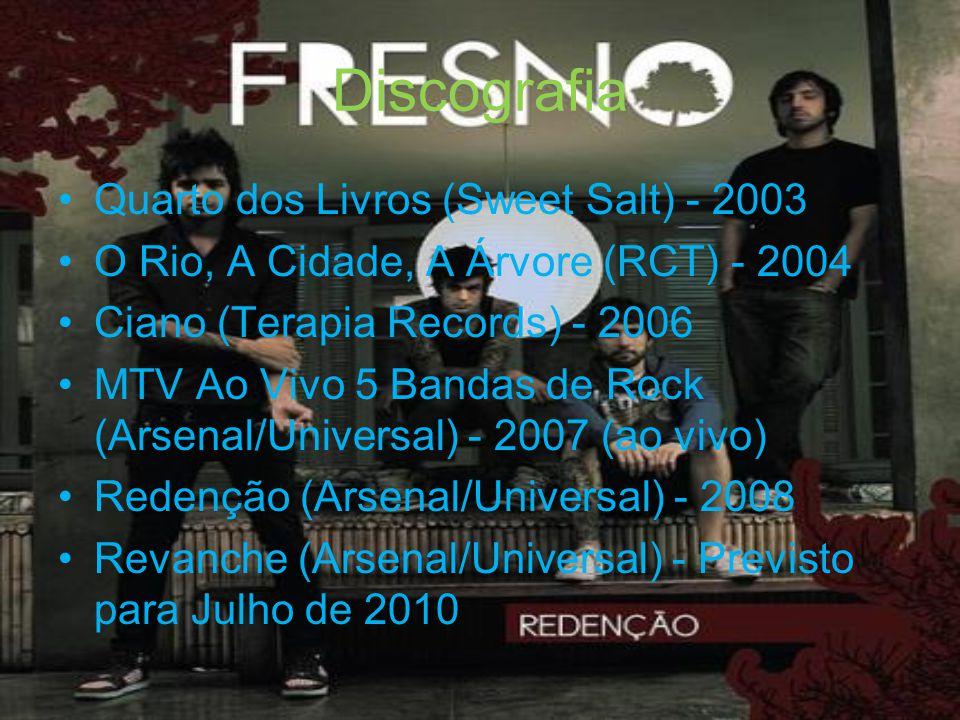 Discografia Quarto dos Livros (Sweet Salt) - 2003 O Rio, A Cidade, A Árvore (RCT) - 2004 Ciano (Terapia Records) - 2006 MTV Ao Vivo 5 Bandas de Rock (