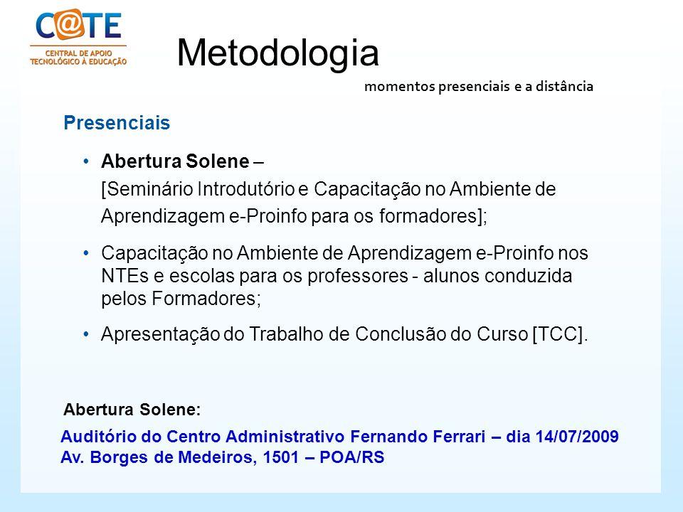 Metodologia Presenciais Abertura Solene – [Seminário Introdutório e Capacitação no Ambiente de Aprendizagem e-Proinfo para os formadores]; Capacitação