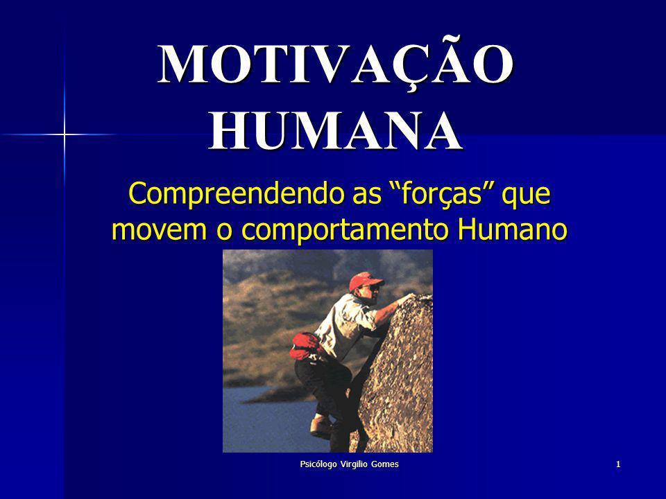 Psicólogo Virgilio Gomes 1 MOTIVAÇÃO HUMANA Compreendendo as forças que movem o comportamento Humano