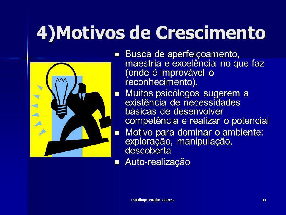 Psicólogo Virgilio Gomes11 4)Motivos de Crescimento Busca de aperfeiçoamento, maestria e excelência no que faz (onde é improvável o reconhecimento). B