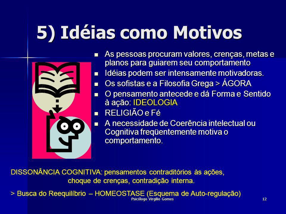 Psicólogo Virgilio Gomes12 5) Idéias como Motivos As pessoas procuram valores, crenças, metas e planos para guiarem seu comportamento As pessoas procu