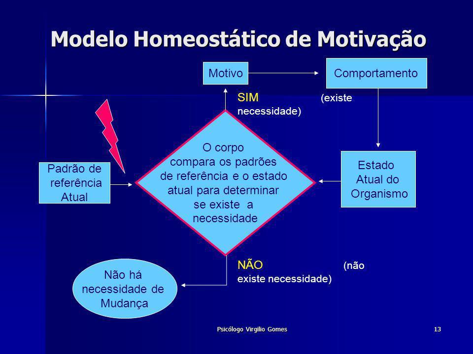 Psicólogo Virgilio Gomes13 Modelo Homeostático de Motivação O corpo compara os padrões de referência e o estado atual para determinar se existe a nece