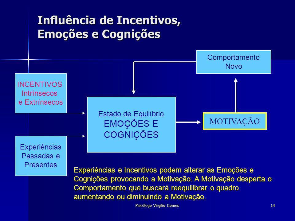 Psicólogo Virgilio Gomes14 Influência de Incentivos, Emoções e Cognições Experiências e Incentivos podem alterar as Emoções e Cognições provocando a M