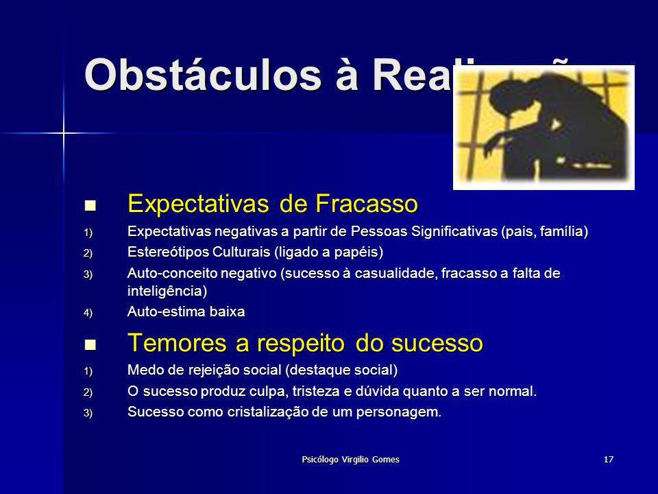 Psicólogo Virgilio Gomes17 Obstáculos à Realização Expectativas de Fracasso Expectativas de Fracasso Expectativas negativas a partir de Pessoas Signif