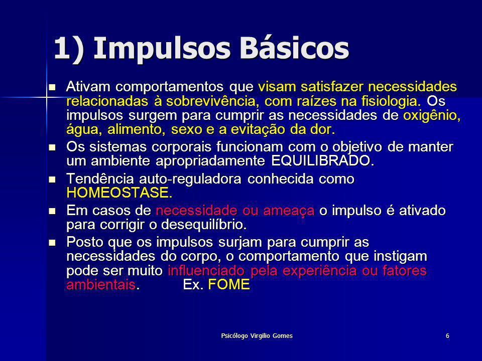 Psicólogo Virgilio Gomes7 2) Motivos Sociais Aqueles cujo cumprimento depende do contato como outros indivíduos.