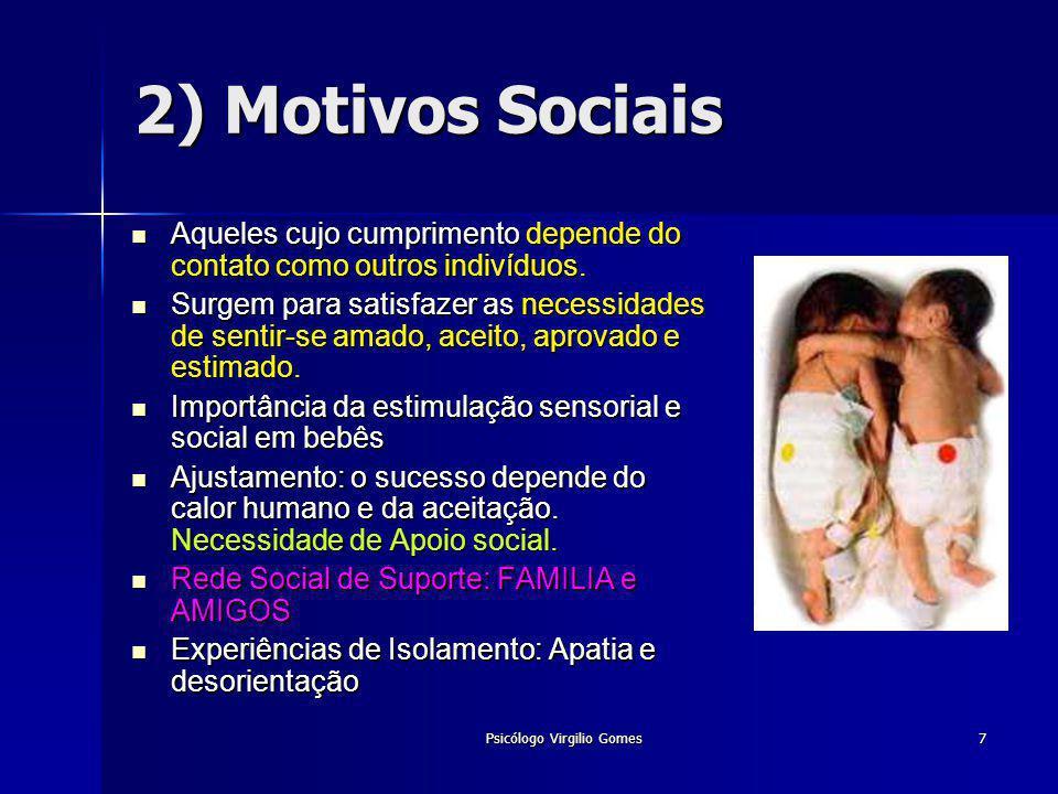 Psicólogo Virgilio Gomes7 2) Motivos Sociais Aqueles cujo cumprimento depende do contato como outros indivíduos. Aqueles cujo cumprimento depende do c