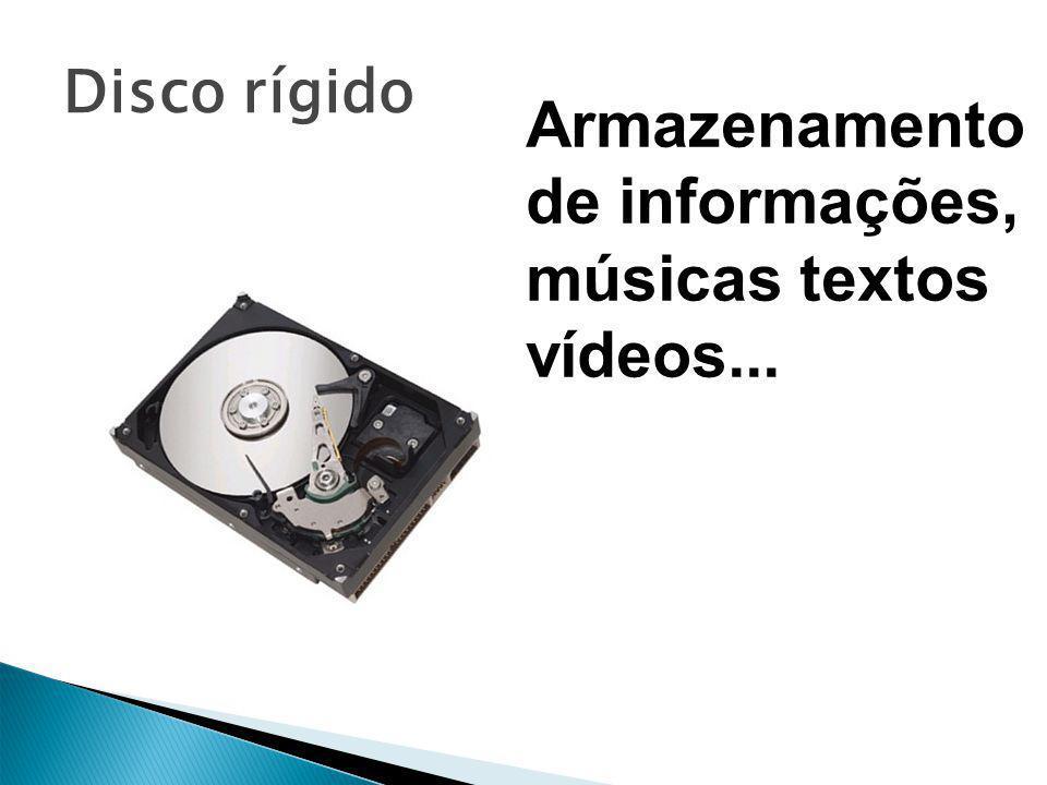 Disco rígido Armazenamento de informações, músicas textos vídeos...