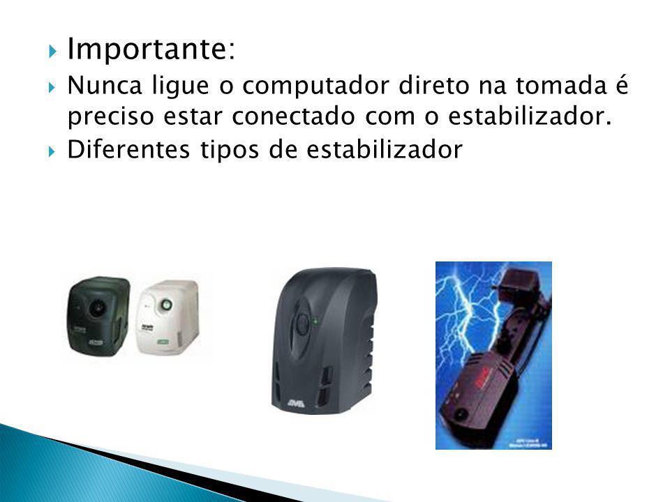 Importante: Nunca ligue o computador direto na tomada é preciso estar conectado com o estabilizador. Diferentes tipos de estabilizador