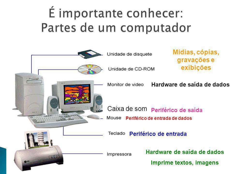 Caixa de som Periférico de entrada de dados Periférico de entrada Hardware de saída de dados Periférico de saída Hardware de saída de dados Imprime textos, imagens Mídias, cópias, gravações e exibições