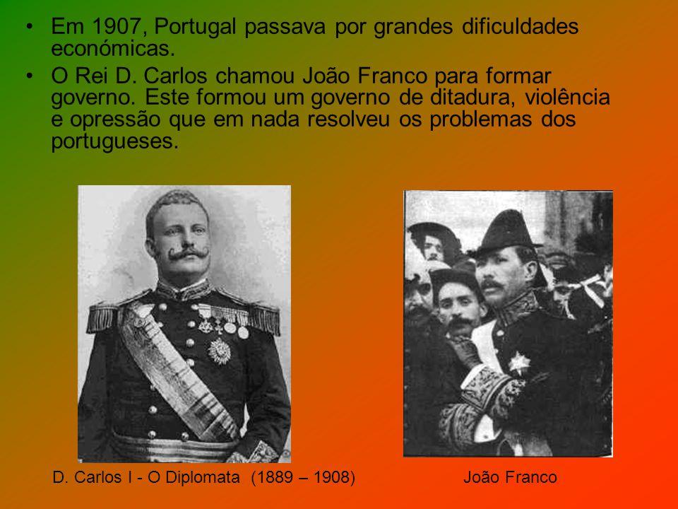 Em 1907, Portugal passava por grandes dificuldades económicas. O Rei D. Carlos chamou João Franco para formar governo. Este formou um governo de ditad