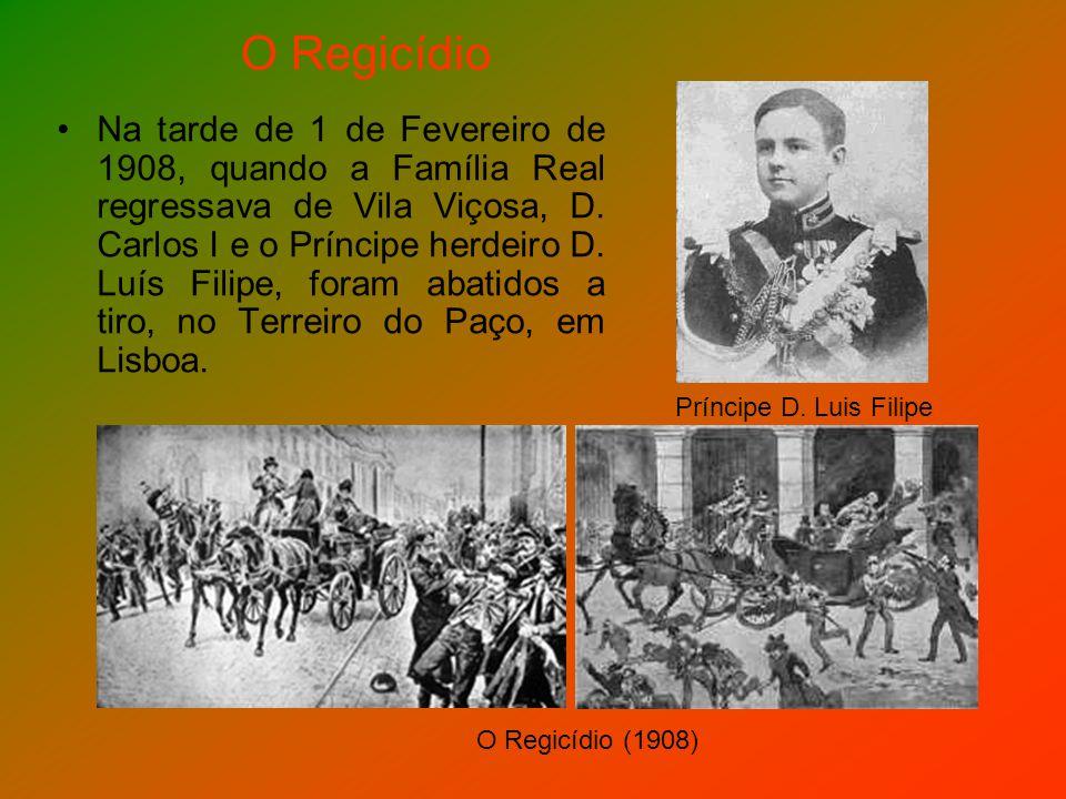 Na tarde de 1 de Fevereiro de 1908, quando a Família Real regressava de Vila Viçosa, D. Carlos I e o Príncipe herdeiro D. Luís Filipe, foram abatidos