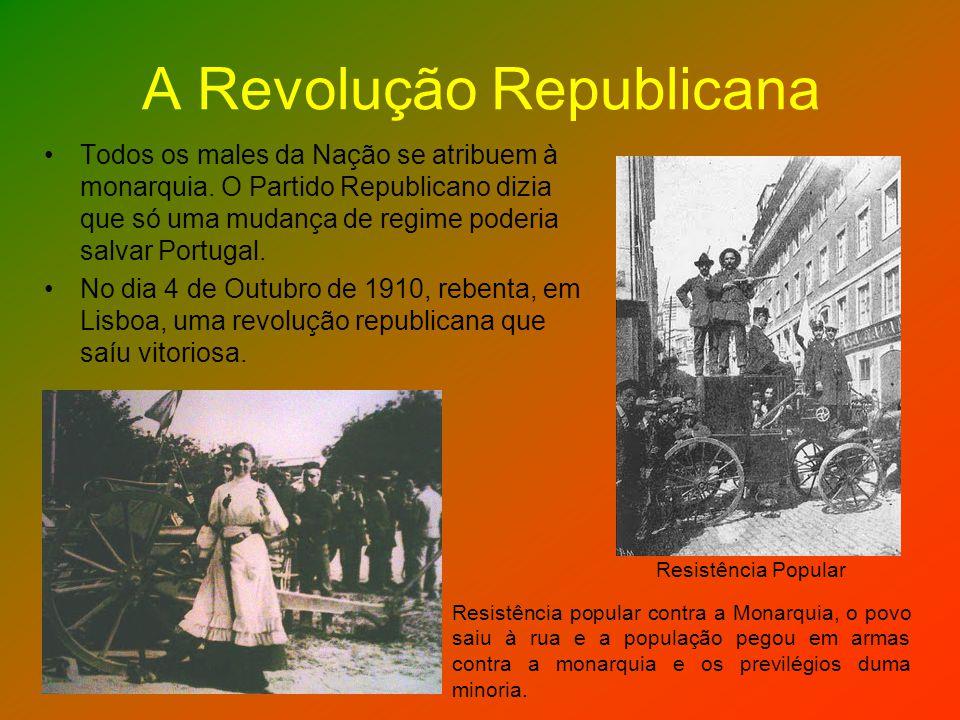 A Revolução Republicana Todos os males da Nação se atribuem à monarquia. O Partido Republicano dizia que só uma mudança de regime poderia salvar Portu