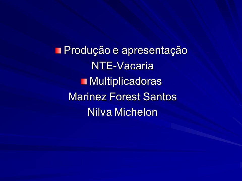 Produção e apresentação NTE-Vacaria NTE-VacariaMultiplicadoras Marinez Forest Santos Marinez Forest Santos Nilva Michelon Nilva Michelon