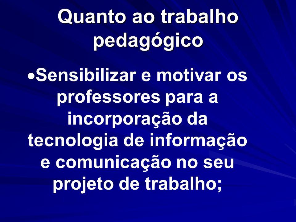 Quanto ao trabalho pedagógico Sensibilizar e motivar os professores para a incorporação da tecnologia de informação e comunicação no seu projeto de trabalho;