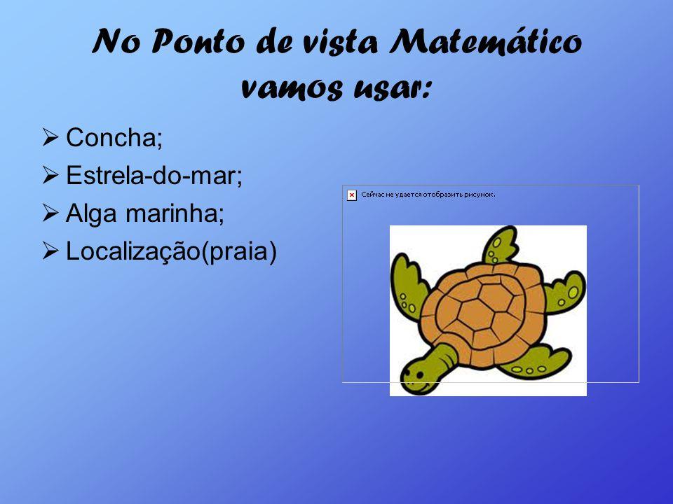 No Ponto de vista Matemático vamos usar: Concha; Estrela-do-mar; Alga marinha; Localização(praia)