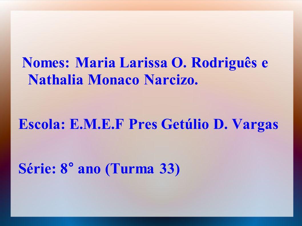 Nomes: Maria Larissa O.Rodriguês e Nathalia Monaco Narcizo.