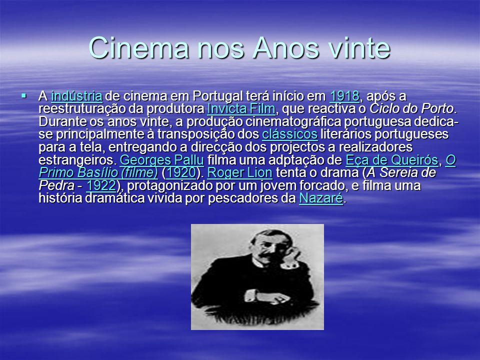 Cinema nos Anos vinte A indústria de cinema em Portugal terá início em 1918, após a reestruturação da produtora Invicta Film, que reactiva o Ciclo do Porto.