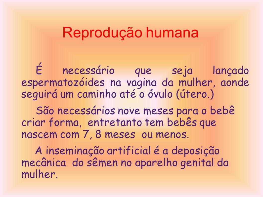 Reprodução humana É necessário que seja lançado espermatozóides na vagina da mulher, aonde seguirá um caminho até o óvulo (útero.) São necessários nove meses para o bebê criar forma, entretanto tem bebês que nascem com 7, 8 meses ou menos.
