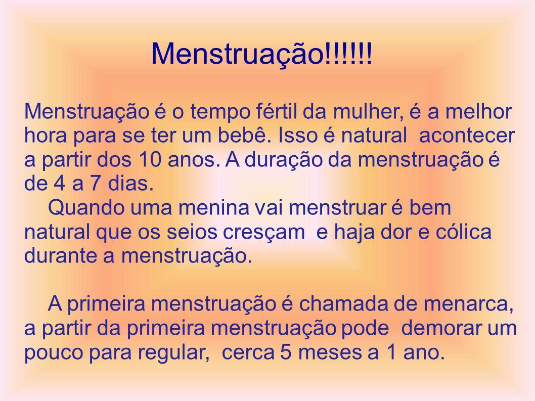 Menstruação!!!!!!.Menstruação é o tempo fértil da mulher, é a melhor hora para se ter um bebê.