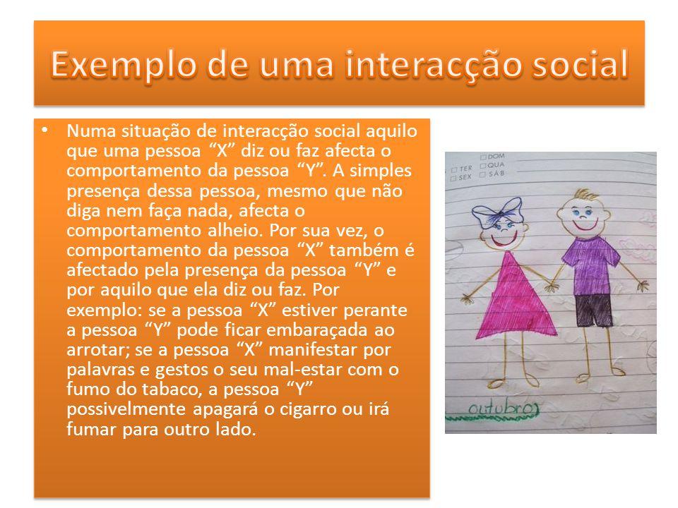 Numa situação de interacção social aquilo que uma pessoa X diz ou faz afecta o comportamento da pessoa Y. A simples presença dessa pessoa, mesmo que n