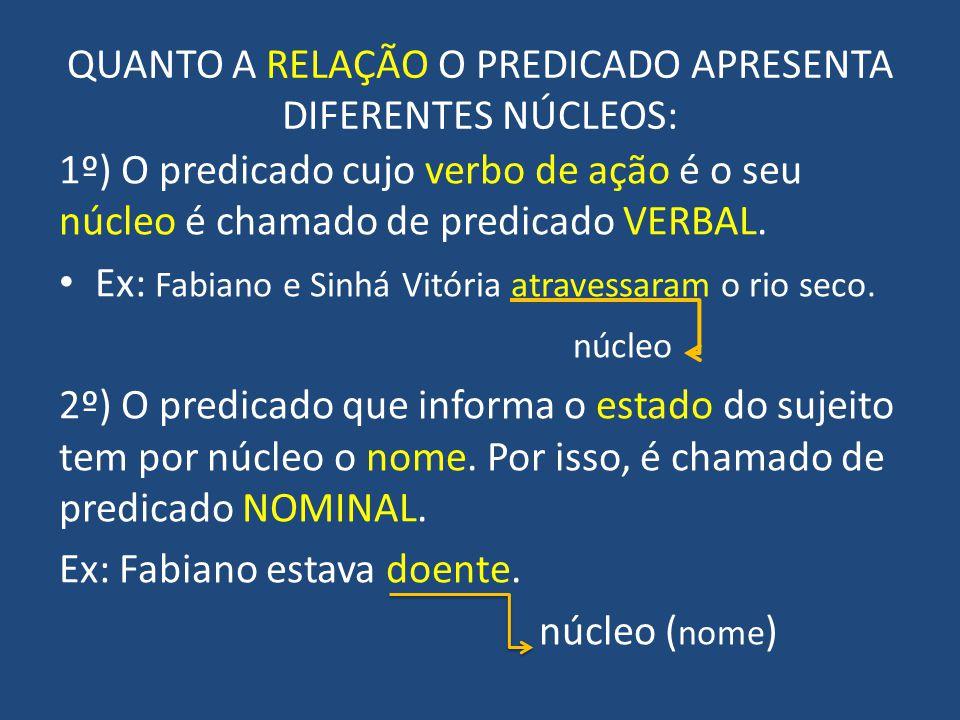 QUANTO A RELAÇÃO O PREDICADO APRESENTA DIFERENTES NÚCLEOS: 1º) O predicado cujo verbo de ação é o seu núcleo é chamado de predicado VERBAL.