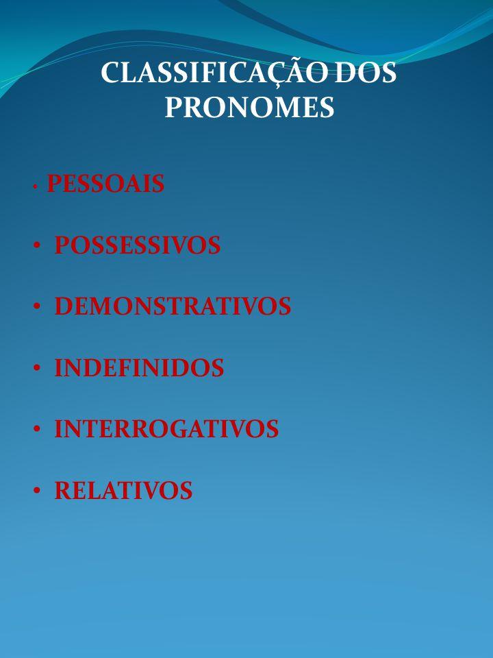 CLASSIFICAÇÃO DOS PRONOMES PESSOAIS POSSESSIVOS DEMONSTRATIVOS INDEFINIDOS INTERROGATIVOS RELATIVOS