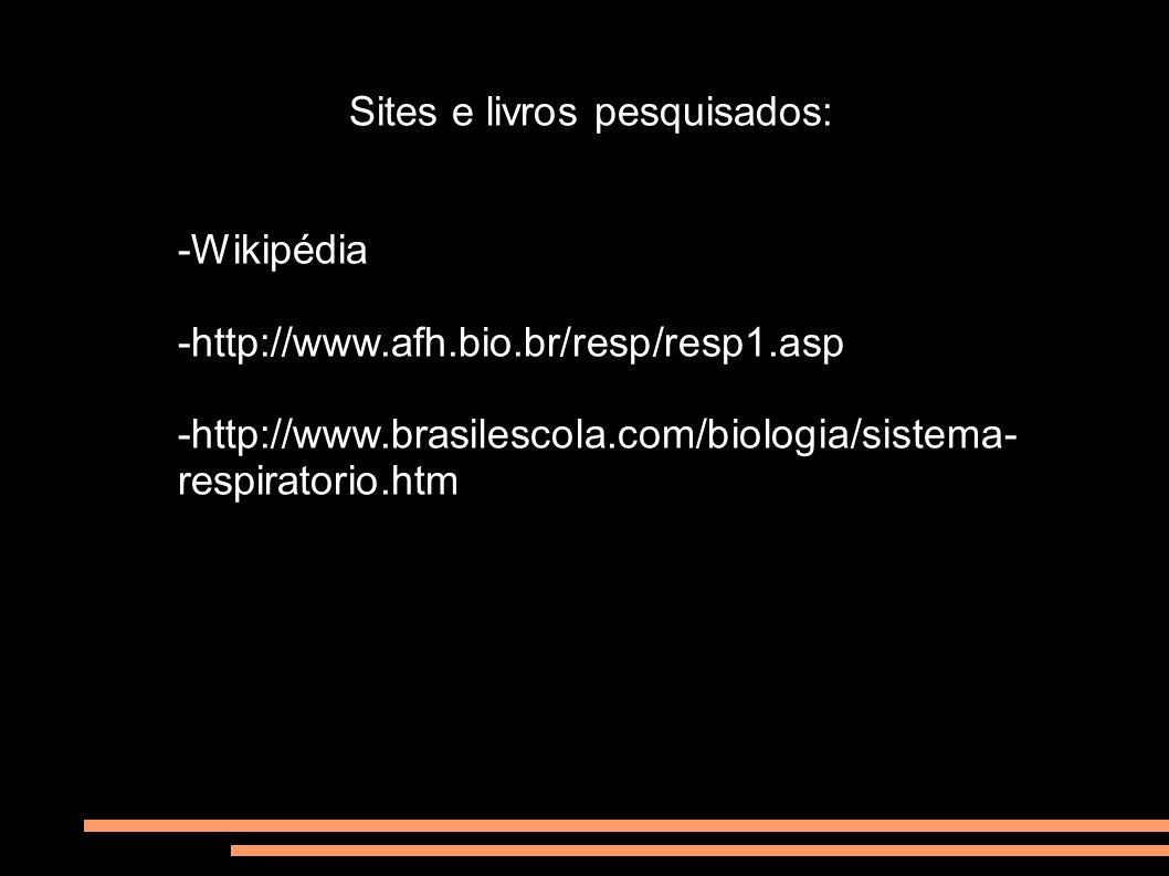 Sites e livros pesquisados: -Wikipédia -http://www.afh.bio.br/resp/resp1.asp -http://www.brasilescola.com/biologia/sistema- respiratorio.htm