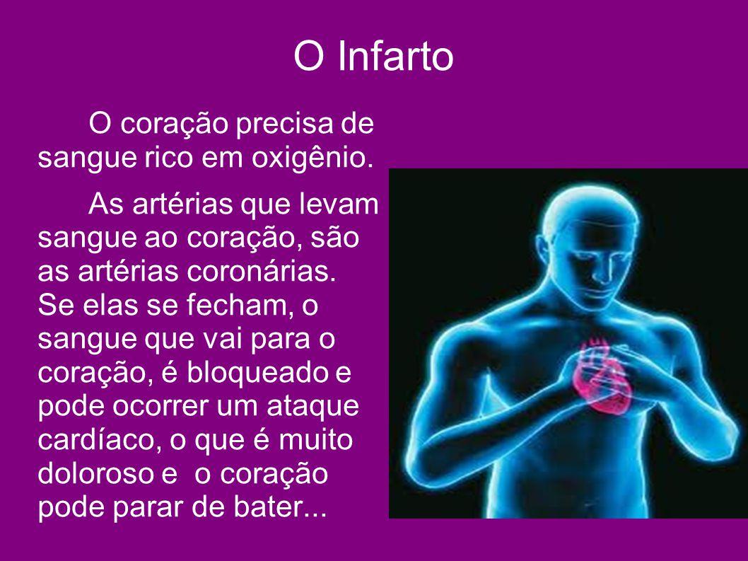 O Infarto O coração precisa de sangue rico em oxigênio. As artérias que levam sangue ao coração, são as artérias coronárias. Se elas se fecham, o sang