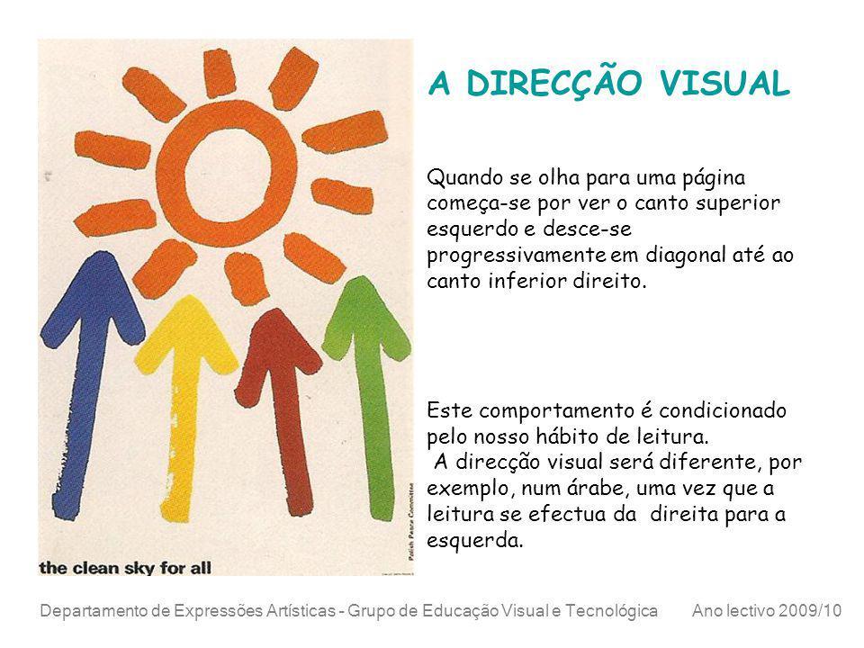 Departamento de Expressões Artísticas – Grupo de Educação Visual e Tecnológica Ano lectivo 2009/10 A DIRECÇÃO VISUAL Quando se olha para uma página co