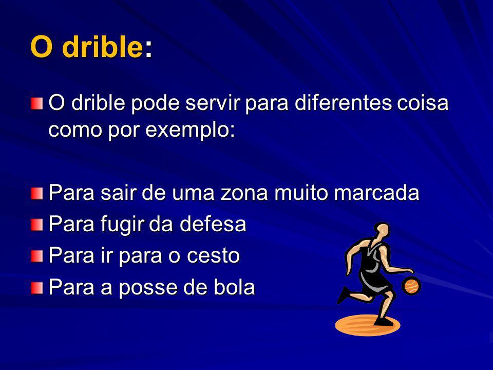 O drible: O drible pode servir para diferentes coisa como por exemplo: Para sair de uma zona muito marcada Para fugir da defesa Para ir para o cesto P