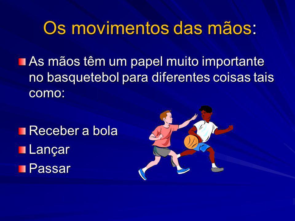 Os movimentos das mãos: Os movimentos das mãos: As mãos têm um papel muito importante no basquetebol para diferentes coisas tais como: Receber a bola