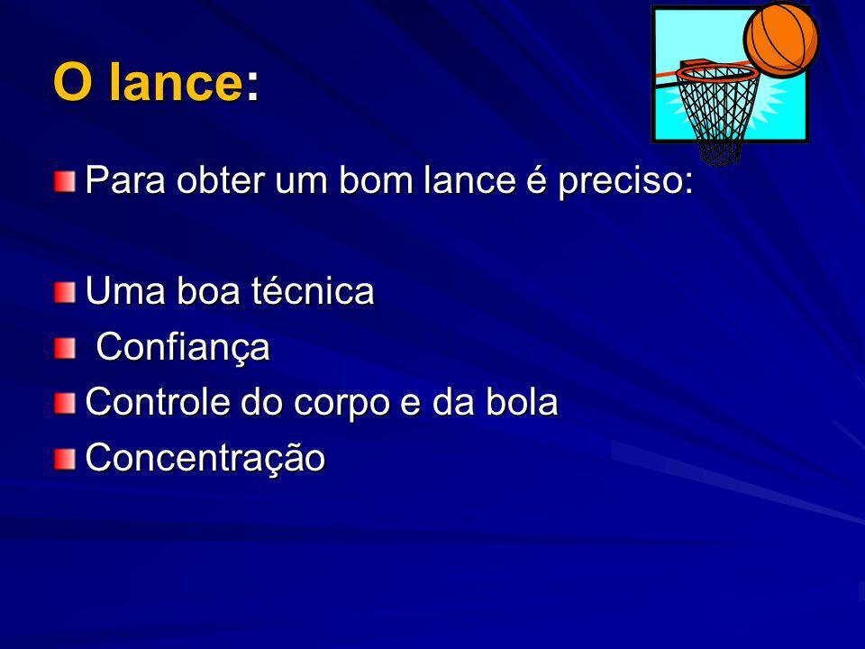 O lance: Para obter um bom lance é preciso: Uma boa técnica Confiança Confiança Controle do corpo e da bola Concentração