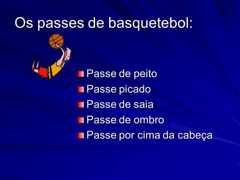 Os passes de basquetebol: Passe de peito Passe picado Passe de saia Passe de ombro Passe por cima da cabeça